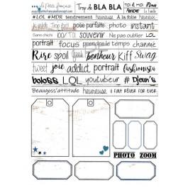 planche de mots et étiquettes