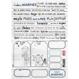 planche de mots et étiquettes Couleurs Marines