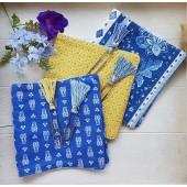 couverture d'album en tissu bleu motif provençal